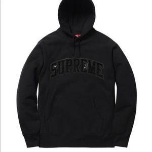 SUPREME Patent/Chenille Arc Logo Hooded Sweatshirt
